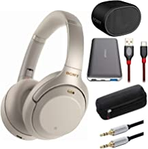 Sony WH1000XM3 Wireless Noise-Canceling Headphones (Silver) XB01 Extra Bass Portable Bluetooth Speaker and Accessory Bundl...