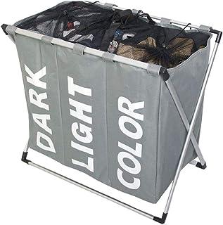 سلة غسيل بثلاثة اجزاء، ثلاثة حواجز مصنوعة من النسيج الشبكي لوضع الملابس المتسخة لتجهيزها للغسيل، حقيبة بنمط سلة، قابلة للط...