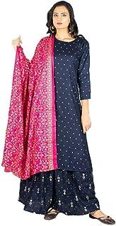 Anvi Women Kurta Skirt Dupatta Set (Navy Blue)