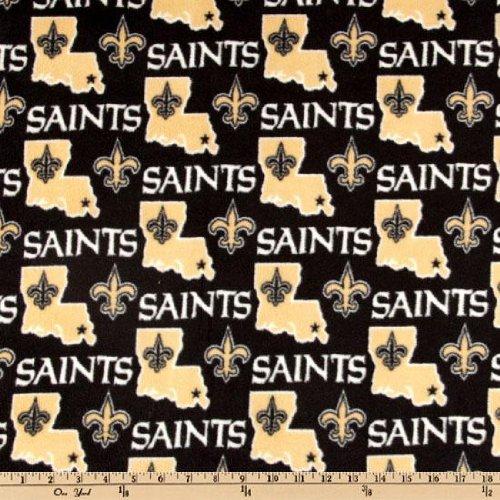 Fabric Traditions NFL Fleece New Orleans Saints, Yard, Black