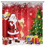 Weihnachten Weihnachtsmann Duschvorhang für Badezimmer Weihnachtsbaumkugeln Winter Schneeflocke Duschvorhang Set mit Haken Dekoration 72x72 Zoll Wasserdichtes PolyestergewebeRot Grün