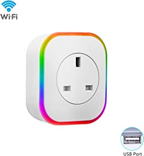 Smart Wifi Plug Socket Outlet with 1 USB port App Remote Voice Control Work with Amazon Alexa Google Home Support Timing Home Appliances