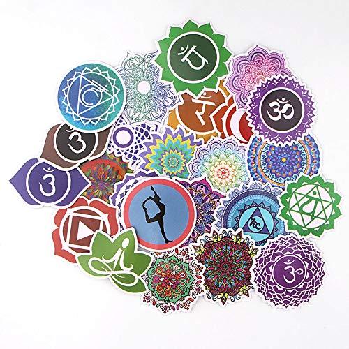 BAIMENG Etiqueta engomada Impermeable del Doodle de la Yoga Caja de Viaje Monopatín Refrigerador Etiqueta engomada del Cuerpo del Ordenador portátil 24 Piezas