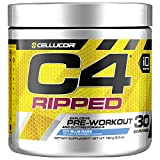 Cellucor C4 Ripped Pre Workout Powder Icy Blue Razz | Creatine Free + Sugar Free Preworkout Energy Supplement for Men & Women | 150mg Caffeine + Beta Alanine + Weight Loss | 30 Servings