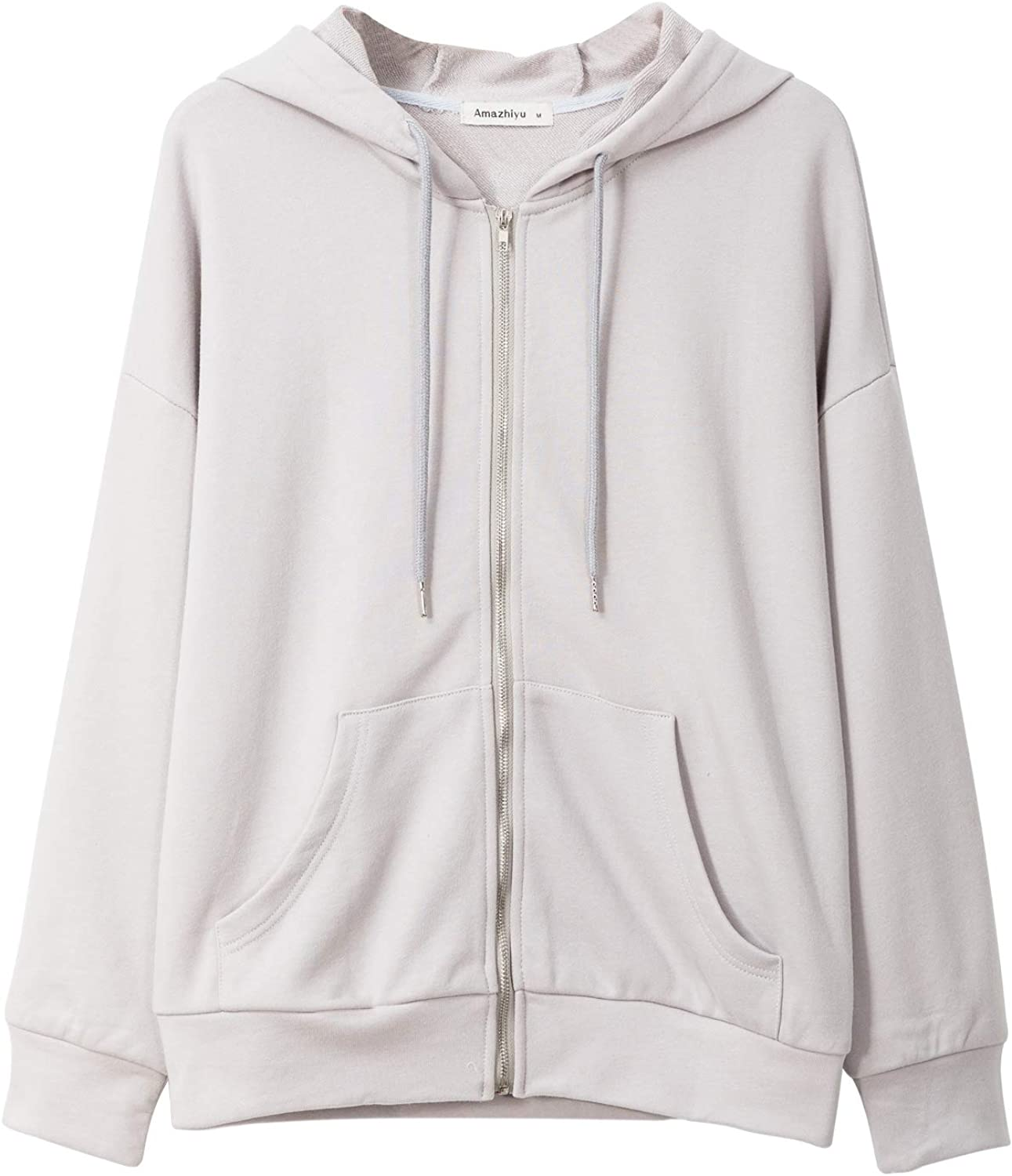Amazhiyu Women Drawstring Full Zip Hoodies with Pockets Thick Cotton Sweatshirt for Winter Warm