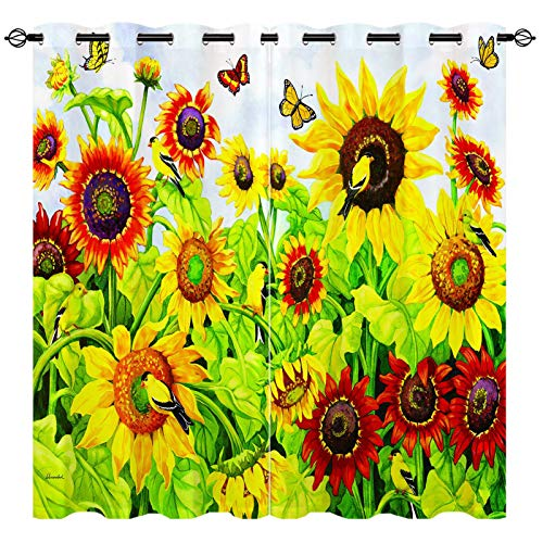 EiiChuang Sunflower Curtains, Oil Painting Watercolor Yellow Sunflower Flower Bird Butterfly Print Curtains Waterproof, Home Decor Grommet Window Drapes for Living Room Kitchen 2 Panels 42 x 45 Inch
