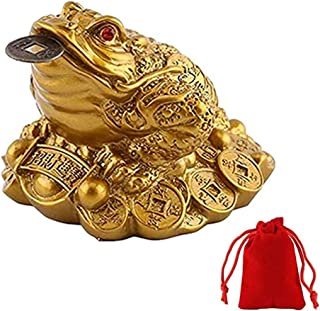 WYSUMMER Lucky Frog Coin, Feng Shui Toad Coin Money Lucky Frog Chinese Charm for Prosperity Home Decoration Gift(9.5cmX8cm...