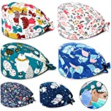 SATINIOR Junkin 6 Pieces Working Cap with Sweatband Bouffant Turban Hat with Buttons Tie Back Caps Colorful Printed Adjustable Cap for Men Women Favors