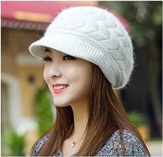 ASHDZ Warm Hats Ladies Knit Duck Tongue Beret hat Wool hat Rabbit Fur hat Tide Double Warm Ear Protector deep Pink Wool hat