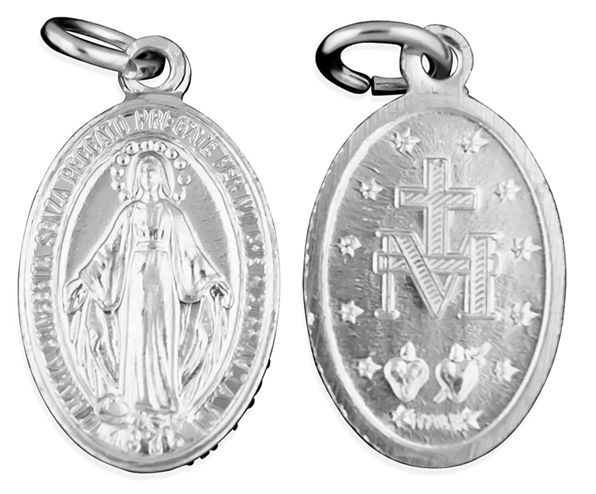 Aluminum Miraculous Medals - Pack of 10 (24mm, Silver)
