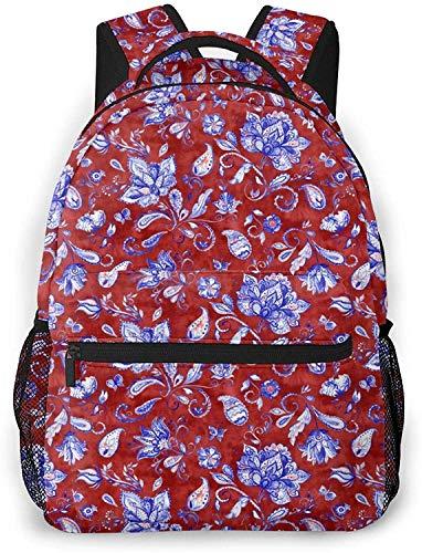 watercolor Flamingo Basic Travel Laptop Backpack Novelty School Bag-Vintage Red Paisley