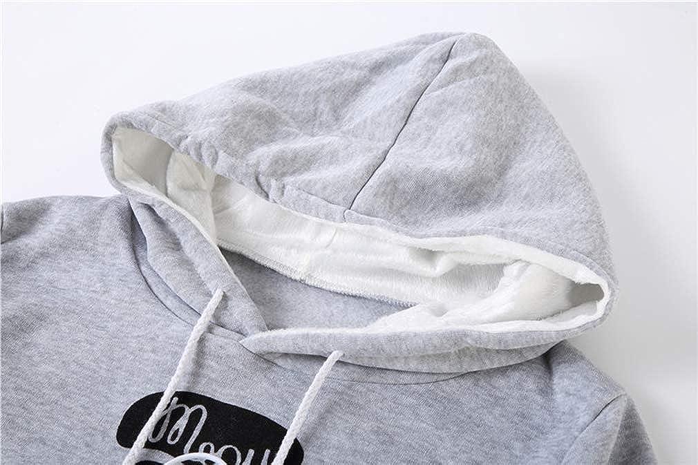 Leslady Damen Schwarz Kapuzenpullover Sweatshirt Kangaroo Carrier für kleine Katze Hunde Schwarz Grau Große Tasche Hoodie Grau Meou