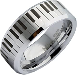 MJ Metals Jewelry Custom Engraved 6mm or 8mm White Tungsten