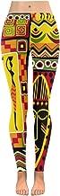 InterestPrint Custom Boho Tribal Halloween Skull Stretchy Leggings Skinny Pants for Yoga Running Pilates Gym(2XS-5XL)