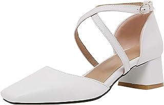 HapyLady Dames Block Medium Hiel Sandalenen Cross Strap Medium Hiel Zomer SHoes Gesp White size 37 Asian