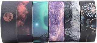 RISYPISY 6 Rotoli Natural Galaxy Nastri Adesivi, 15mm Largo Decorativo Masking Tape per Fai-da-Te, Scrapbooking, Ufficio
