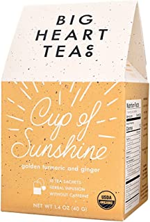 Big Heart Tea - Cup of Sunshine, Golden Tumeric & Ginger, Herbal Infusion, Without Caffeine, USDA Organic (10 bags)