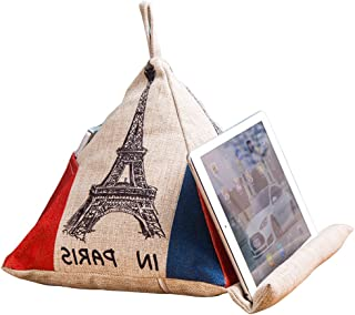 Olpchee Personality Linen iPad Tablets e-Readers Books Beanbag Cushion Stands Holder Cell Phone Storage Bag Creative Triangle Cushion Pillow (Tower)