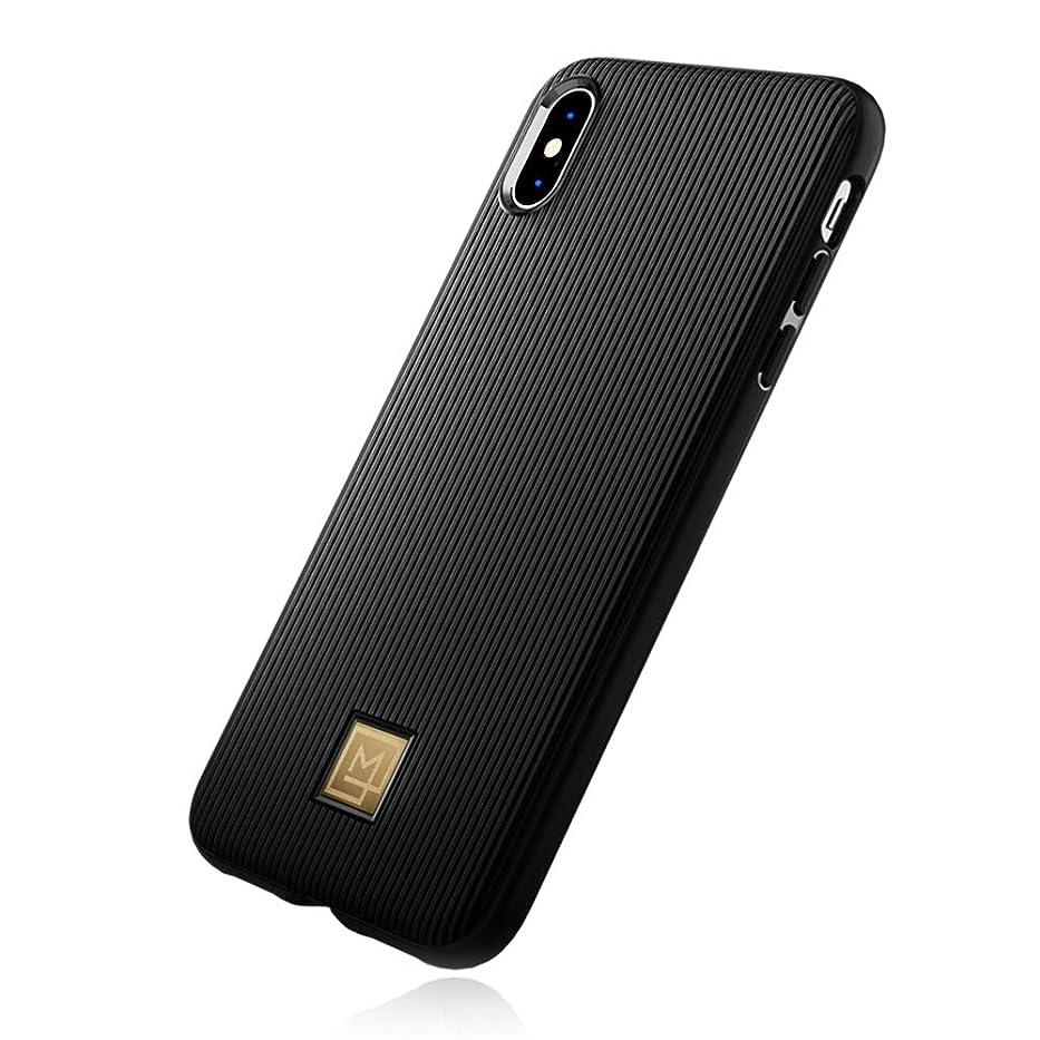 唯一フラスコ浮浪者【Spigen x LA MANON】 iPhone XS ケース/iPhone X ケース 5.8インチ 対応 TPU 軽量 薄型 光沢 艶 ストライプ おしゃれ シック デザイン 指紋防止 傷防止 保護 ワイヤレス充電 クラッシー (ブラック)