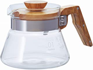 Hario 400 ml Olive Wood ny kaffeserverare, transparent