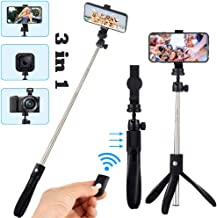 Selfie Stick Tripod Portable 31 inches Extendable Cell Phone Tripops Stand with Wireless Remote Shutter Bluetooth Monopod Stainless Steel 360°Rotatable for iPhone X/8/7/6S/6/XS, Android Small Camera