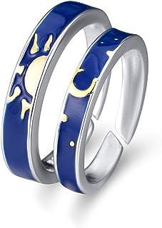 OGTFRWS زوج من الأزواج مفتوحة قابلة للتعديل خواتم للرجال والنساء (اللون: أزرق)
