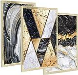 Postergaleria Lot de 3 affiches design |30x40cm |avec cadre doré | Marbre scintillant noir, blanc et or |Photos pour cuisine, bureau, salon ou chambre |Doré