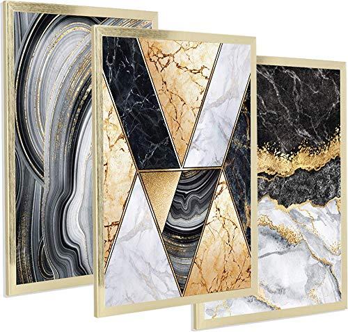 Postergaleria Juego de 3 carteles de diseño |30x40cm |con marco dorado | Mármol brillante negro, blanco y dorado |Cuadros para cocina, oficina, salón o dormitorio |Dorado