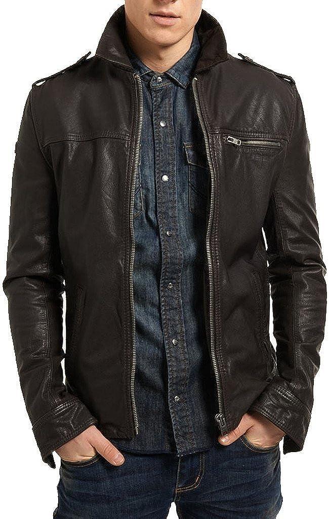 New Men Jacksonville Mall Genuine Selling and selling Cow Leather Black Biker Slim Jacket FIT KC631