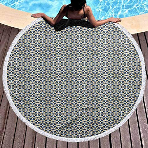 prunushome Round Beach Mat Floral Popular Handicrafts Beach Towel Overlapping Shapes Symmetrical Ornament Tile in Blue and Yellow Shades Towels Blanket for Travel Pool Swimming Bat (Diameter 59')