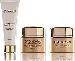 ORO24KARAT 24k Gold Moisturizing Day Cream, Peeling Gel, Exfoliating Facial Cleanser Complete Set