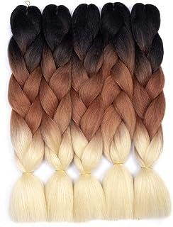 Ombre Braiding Hair Kanekalon Synthetic Braiding Hair Extensions (Black-Brown-Blonde)..