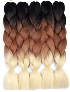 Ombre Braiding Hair Kanekalon Synthetic Braiding Hair Extensions (Black-Blonde) 5pcs/lot 24inch Jumbo Braiding Hair
