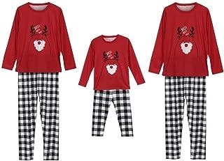 Weixinbuy Christmas Pajamas for Family Men Women Kids Baby Cartoon Print Tops Plaid Pants Trouser Sleepwear Pjs Set