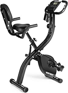 Folding Exercise Bike, NEWFITMENT 3-in-1 Magnetic Indoor Cycling Bike, Foldable Stationary Bike for Adults Home Use With Arm Resistance Band & Removable Padded Backrest & 10-Level Resistance