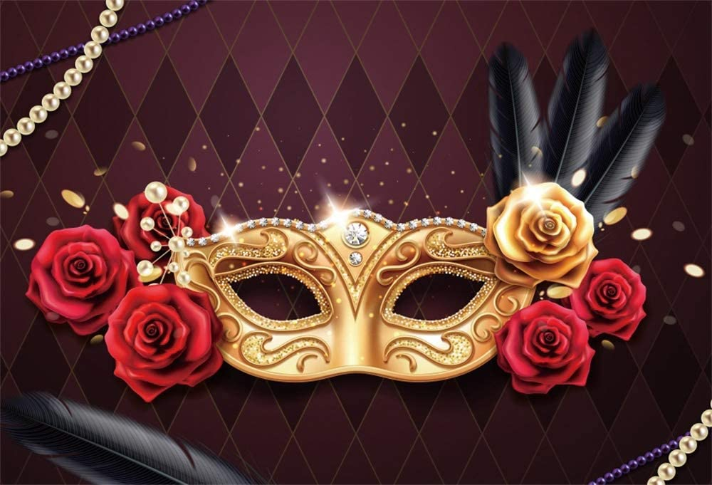 Soldering Cheap sale AOFOTO 9x6ft Mardi Gras Mask for Red Roses Photography Backdrop