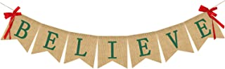 Believe Burlap Banner - Rucitc Holiday Banner Garland - Perfect for Christmas Decoration Xmas Party Decor