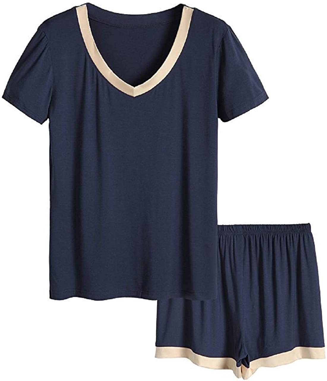 Elonglin Women's Pajama Set Summer T-Shirt Top & Shorts Soft Modal Sleepwear Set