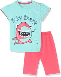Jockey Baby Shark Print Round Neck T-shirt with Shorts Pajama Set for Girls - Turquoise & Coral, 6-12 Months