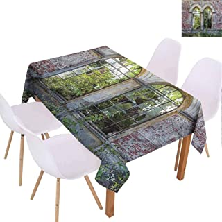 FANOEWI Creative Rectangle Tablecloth Rustic Old Red Brick Stone House Buffet Table,Parties,Holiday Dinner,Wedding,Picnic,Patio,Kitchen,Dining,Family Room W59 xL78