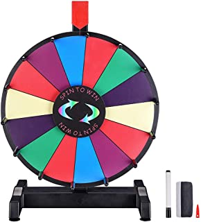 "WinSpin 12"" Editable Color Prize Wheel Dry Erase Fortune Spinning Game Carnival with Tabletop Stand 14 Slots"