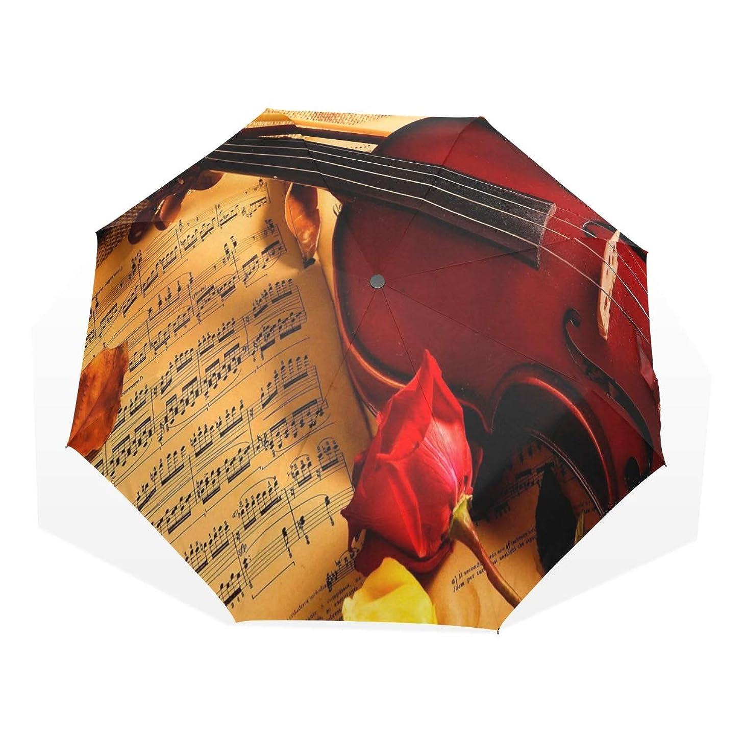 Umbrella Vintage Violin Rose Flower Travel Golf Sun Rain Windproof umbrellas with UV Protection for Kids Girls Boys