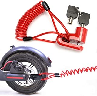 Disc Brake Lock for Electric Scooter, Anti-Theft Padlock Wheel Security Lock 6mm Pin with 5 ft Reminder Cable Snackle fit ...