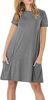 فستان صيفي كاجوال للنساء من YMING قصير الأكمام بجيوب XS-4XL