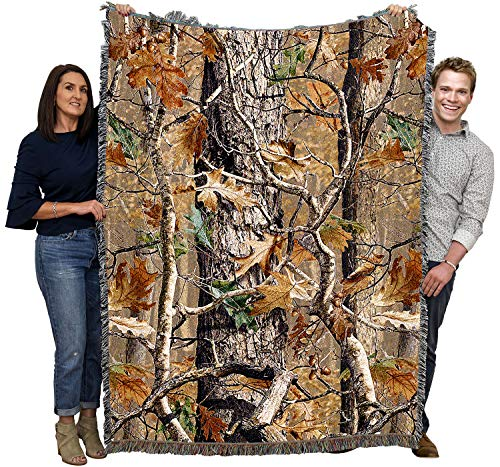 Pure Country Weavers Oak Woods Camo Blanket Throw Woven from Cotton - Made in The USA (72x54)