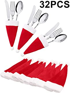 jollylife 32Ct Christmas Santa Hats Silverware Holders - Xmas Party Dinner Table Dinnerware Decorations Supplies