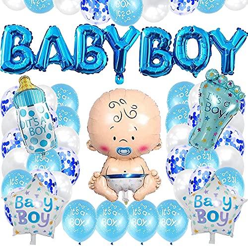 TOPHOPE Baby Shower Dekoratione Jungen, Baby Dusche Party Deko,Babyparty Deko, Baby-Folienballon für Mama Sein Geschlecht offenbaren Party Mehrweg Blau