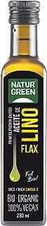 NaturGreen - Aceite Lino Bio, 100% Aceite de Semillas de Lino Ecológico, Rico en Omega-3, Primera Presión, 250 Mililitros