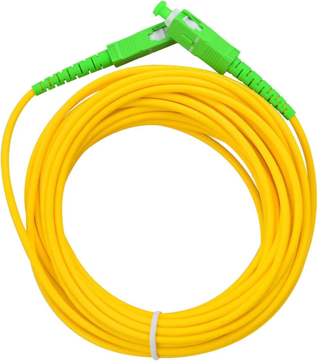 LAZY SPORTS Fiber óptica Cable SC/APC a SC/APC monomodo simplex 9/125,Operadores Movistar Jazztel Vodafone Orange Amena Masmovil Yoigo (15 M)