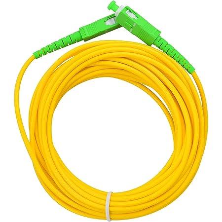 LAZY SPORTS Câble fibre optique SC/APC a SC/APC monomodo simplex 9/125, Operadores Movistar Jazztel Vodafone Orange Amena Masmovil Yoigo (15 M)